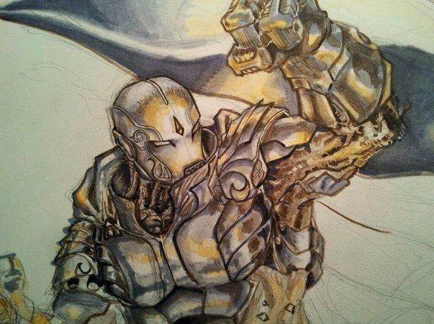 A warfroged in battle, Image by dreamflux1