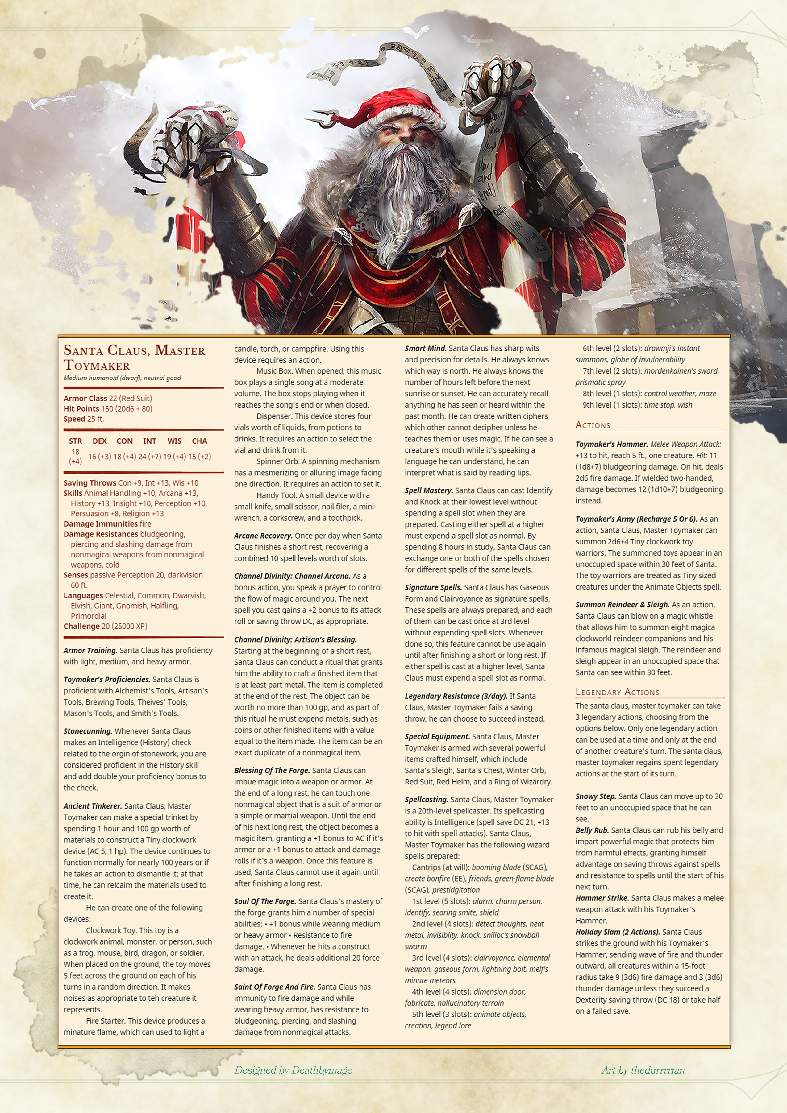 Return of Santa Claus in D&D 5e stats – Master Toymaker edition