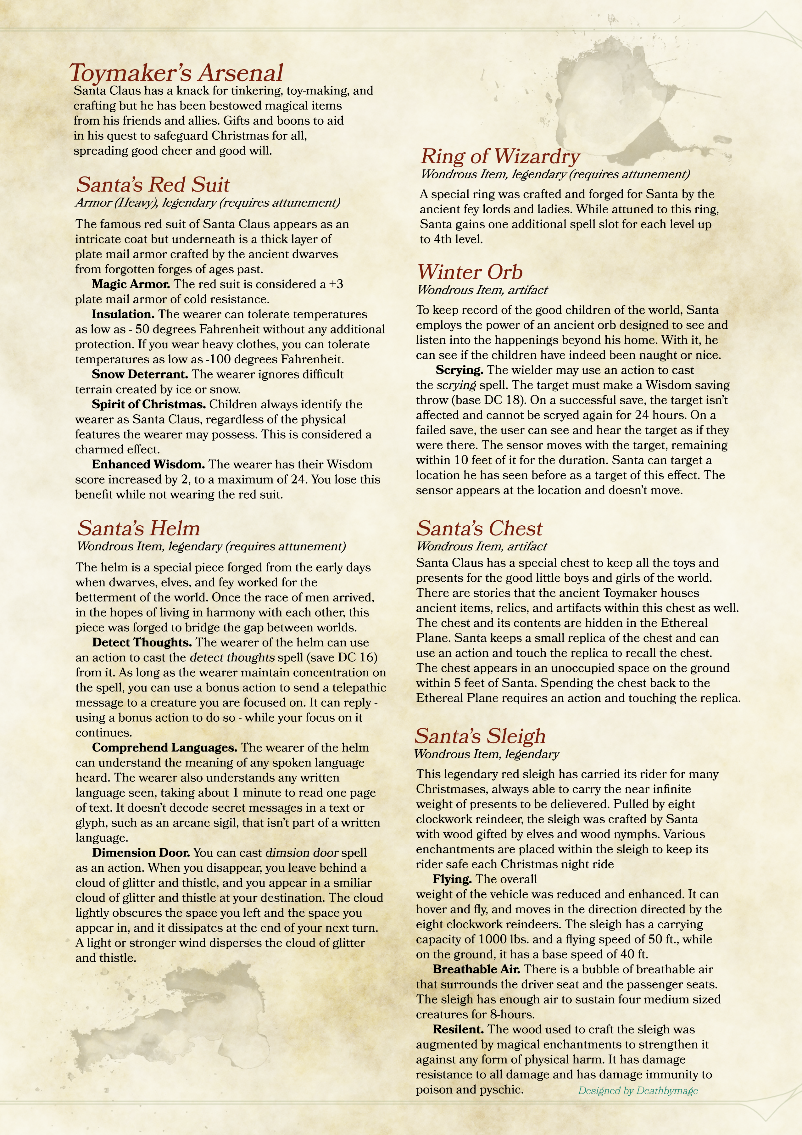 Return of Santa Claus in D&D 5e stats – Master Toymaker